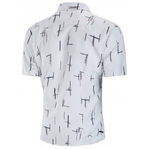 Button Up Letter Vertical Line Print Casual Shirt -
