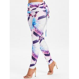 Shiny Geometric Print Workout Leggings -