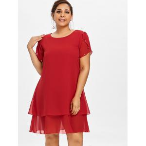 Plus Size Pearl Embellished Tunic Dress -