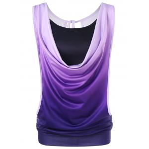 Ombre Cowl Neck Two Piece Tank Top -