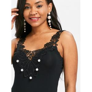 Flower Lace Embellished Pearled Tank Top -