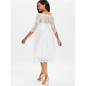Three Quarter Sleeve Wedding Lace Dress -