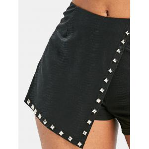 Faux Leather Mini Overlay Shorts -