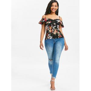 Floral Ruffle Spaghetti Strap Cold Shoulder Top -