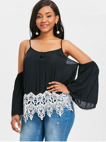Lace Trim Cold Shoulder Blouse