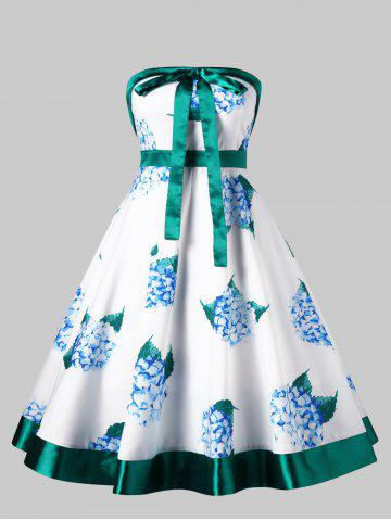 Sale Floral Print Bowknot Waist Tube Dress