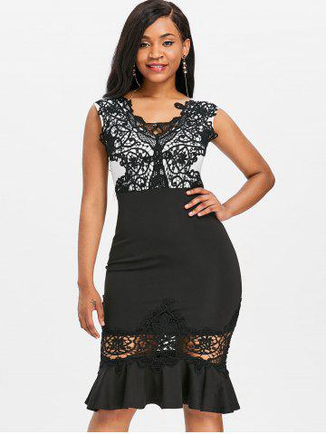 Lace Panel Bodycon Mermaid Dress
