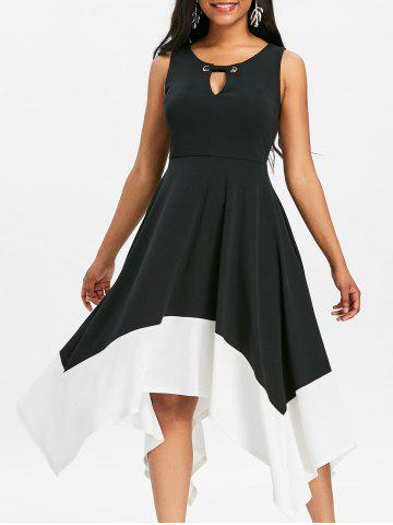 Unique Asymmetrical Keyhole Two Tone Midi Dress