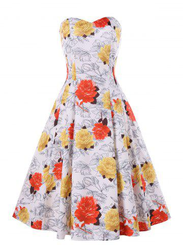 Best Floral Print Cocktail Strapless Dress