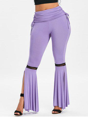 Hot Ruched Lace Insert Slit Bell Bottom Pants