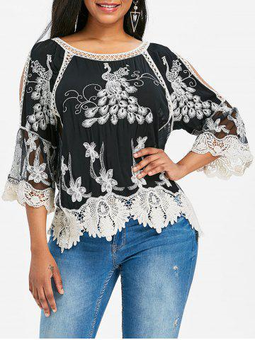 Shops Split Sleeve Lace Embroidery Blouse