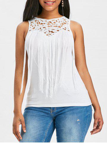 Lace Panel Fringe Tank Top - White - 2xl