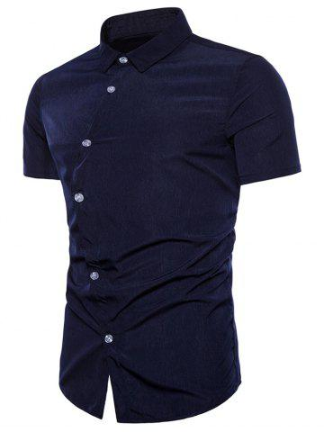 Affordable Asymmetrical Placket Fit Casual Shirt