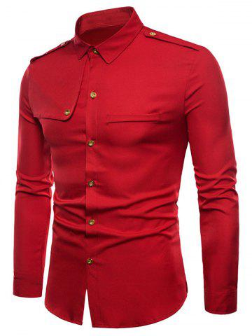 Outfit Epaulet Faux Pocket Embellished Button Up Shirt