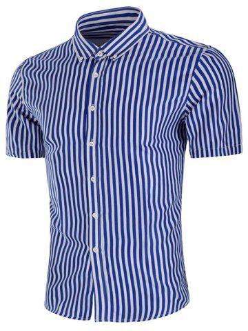 New Stripe Print Button Down Slim Fit Shirt