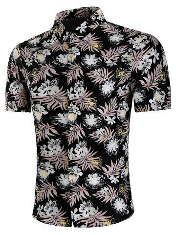 Best Short Sleeve Allover Flower Print Casual Shirt