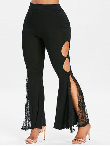 Fashion Cut Out Lace Panel Side Slit Flare Pants