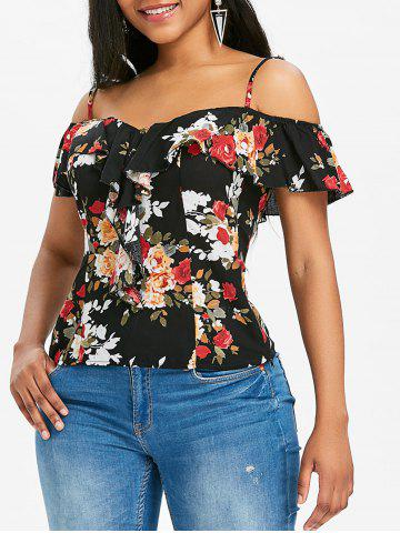 Chic Floral Ruffle Spaghetti Strap Cold Shoulder Top