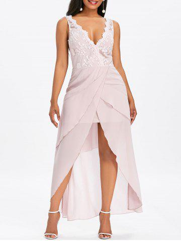 Sleeveless Asymmetrical Maxi Chiffon Dress - Light Pink - L