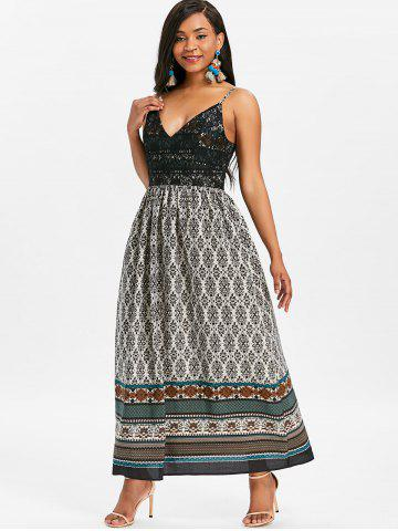 Tribal Print Long Boho Slip Dress