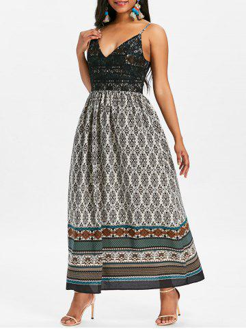 Chic Tribal Print Long Boho Slip Dress