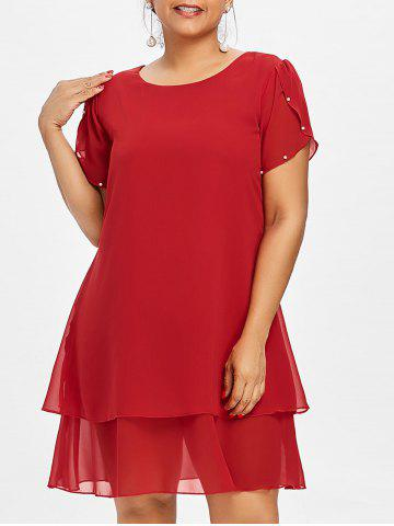 Plus Size Pearl Embellished Tunic Dress - Red - 5x
