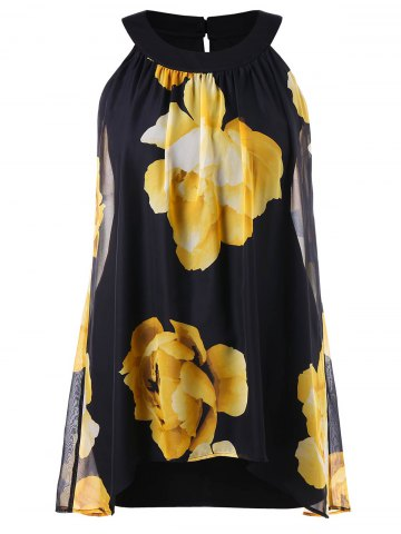 Chic Floral Printed Plus Size Shift Dress
