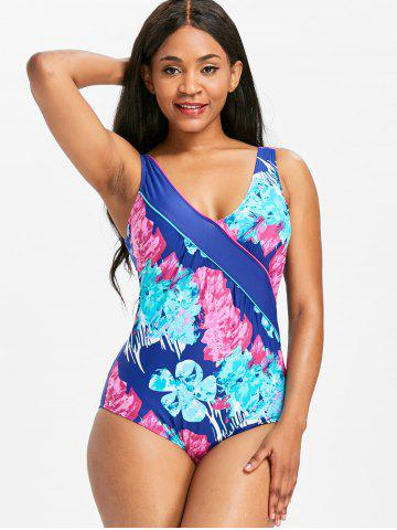 One-piece Flower Print Backless Swimwear