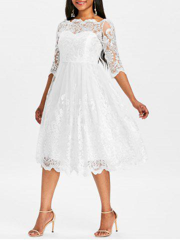 Fancy Three Quarter Sleeve Wedding Lace Dress
