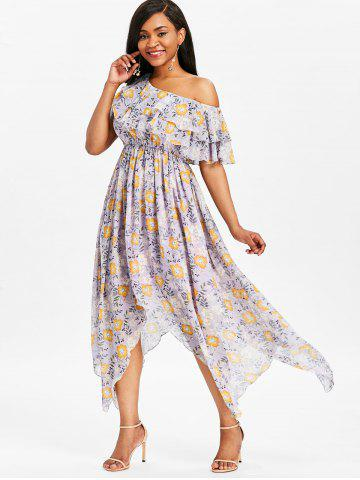 Ruffle High Waisted Floral Dress