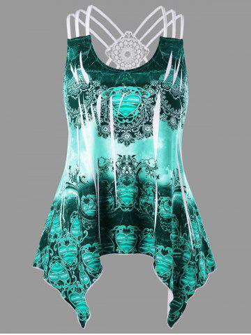 Plus Size Tribal Print Criss Cross Asymmetric Tank Top