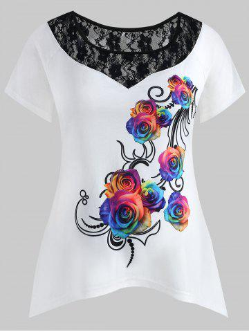 Store Plus Size Lace Insert Rose T-shirt