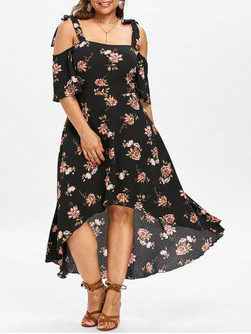 Cheap Plus Size Floral Maxi Cold Shoulder Dress