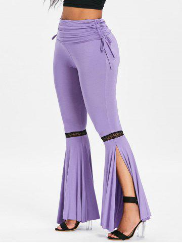 Ruched Lace Insert Slit Bell Bottom Pants