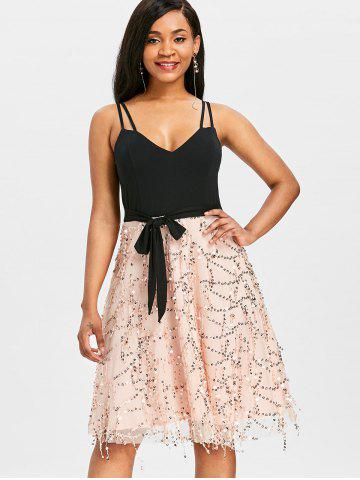 Double Straps Sequins Fit and Flare Dress