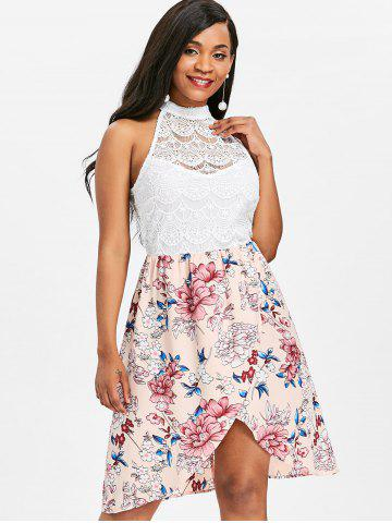 Floral Print Lace Panel Sleeveless Dress