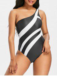 One Shoulder One Piece Stripe Bathing Suit -