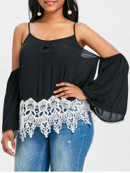 Lace Trim Cold Shoulder Blouse -