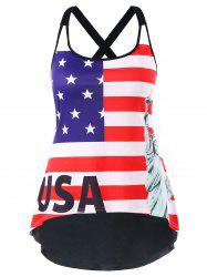 Plus Size U Neck American Flag Tank Top -