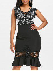 Lace Panel Bodycon Mermaid Dress -