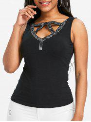 Hollow Out Beaded Fitted Tank Top -