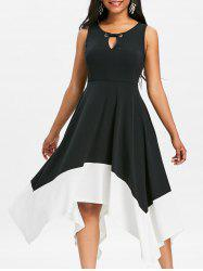 Asymmetrical Keyhole Two Tone Midi Dress -