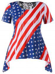 Asymmetrical Plus Size American Flag T-shirt -