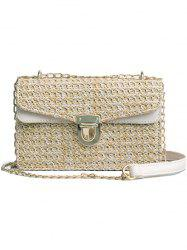 Color Striped Vintage Straw Crossbody Bag -
