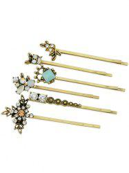 Set of 6Pcs  Rhinestone Inlaid Artificial Gem Hairpin -
