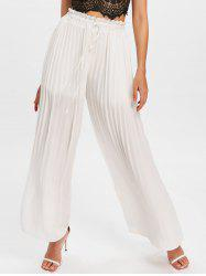 Drawstring Semi Sheer Palazzo Pants -