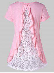Lace Insert Back Short Sleeve T-shirt -