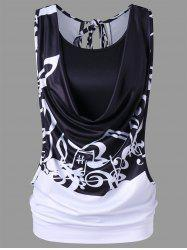 Music Note Cut out Tank Top with Camisole -