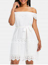 Lace Trim Off Shoulder Dress -