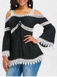 Flare Sleeve Cold Shoulder Lace Insert Blouse -